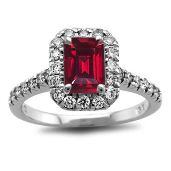 14k White Gold Plated 925 Silver Red Garnet Women's Engagement Anniversary Ring
