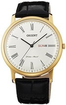Orient UG1R007W 40mm Gold Plated Stainless Steel Case Black Calfskin Mineral - $151.46