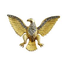 Les Bernard Gold Tone & Rhinestone Figural Eagle Brooch Pin - $48.00