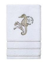 "Avanti Hyannis Hand Towel Embroidered White Bathroom 30x16"" Seahorse San... - $29.21"