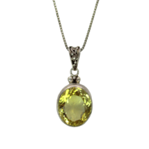 """Sterling Silver Stunning Yellow Citrine Pendant LONG 29"""" Chain Necklace 925 - $24.63"""