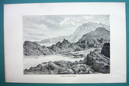 ENGLAND Rocks of Ilfracombe - 1890s Antique Print - $7.27