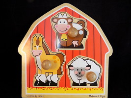 JUMBO KNOB PUZZLE Melissa and Doug Barnyard animals Children wooden puzzle - $9.49