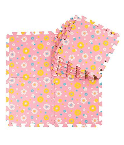 Joint Mat Interlocking Foam Mats EVA Foam Floor Mats (9 Tiles) Pink Sunflowers