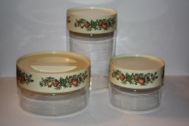 Vintage Pyrex 3 Piece Glass Cannister Set with Lids Made in USA - $24.50