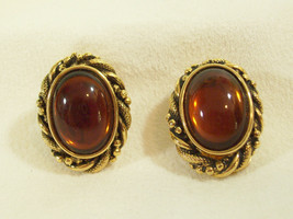 Vintage PCraft Oval Amber Cabs Gold Plate Clip Earrings Rope Twist Frame... - $14.85