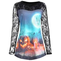 Plus Size Halloween Pumpkin Moon Lace Panel(LIGHT BLUE 4XL) - $18.83
