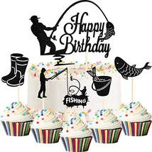 41 Pieces Fisherman Happy Birthday Cake Topper Fishing Cupcake Topper (B... - $15.75