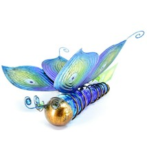 Painted Metal & Glass Solar Powered Light Garden Decoration Butterfly Decor image 2
