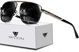 SIPLION Men's Driving Polarized Rectangular Square Sunglasses Metal Frame 1823 - $57.94