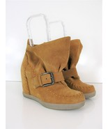 Luxury Rebel Boot Stitched Moccasin Wedge Booties 36 $185 - $47.52