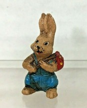 """Vintage Cast Metal Bunny Overalls 1 1/8"""" Hand Painted T2 - $29.21"""