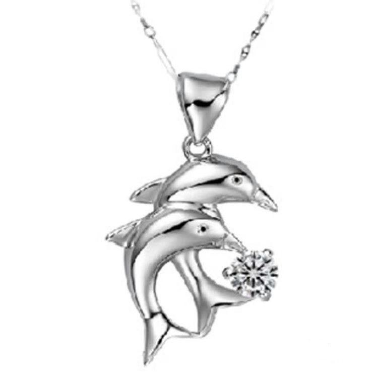 Double Dolphin Love Forever Pendent Necklace w/ velvet bag
