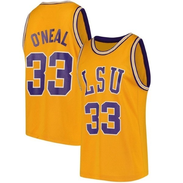 Shaquille O'Neal #33 College Custom Basketball Jersey Sewn Gold Any Size