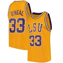 Shaquille O'Neal #33 College Custom Basketball Jersey Sewn Gold Any Size image 1