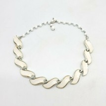 White Thermoset Silver Tone Coro Signed Choker Necklace Mid Century Vintage - $24.74