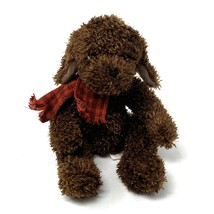 "Russ Sparkle Plush Brown Dog Stuffed Animal Puppy Red Plaid Scarf 6"" Sit... - $12.86"