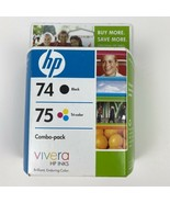 Genuine HP 74xl/75 (CZ139FN) Combo Pack Ink Cartridge New Sealed Exp APR... - $23.36