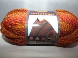 Lion Brand Yarn Tweed Stripes #208 Wildfire Bulky 100% Acrylic 3 Oz 85g ... - $7.82
