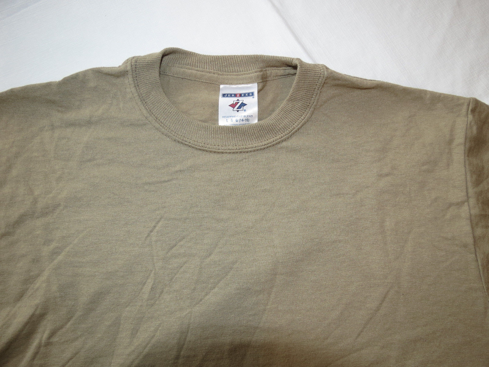 Boys youth Jerzees Heavyweight Blend short sleeve t shirt Khaki L 14-16 NWOT