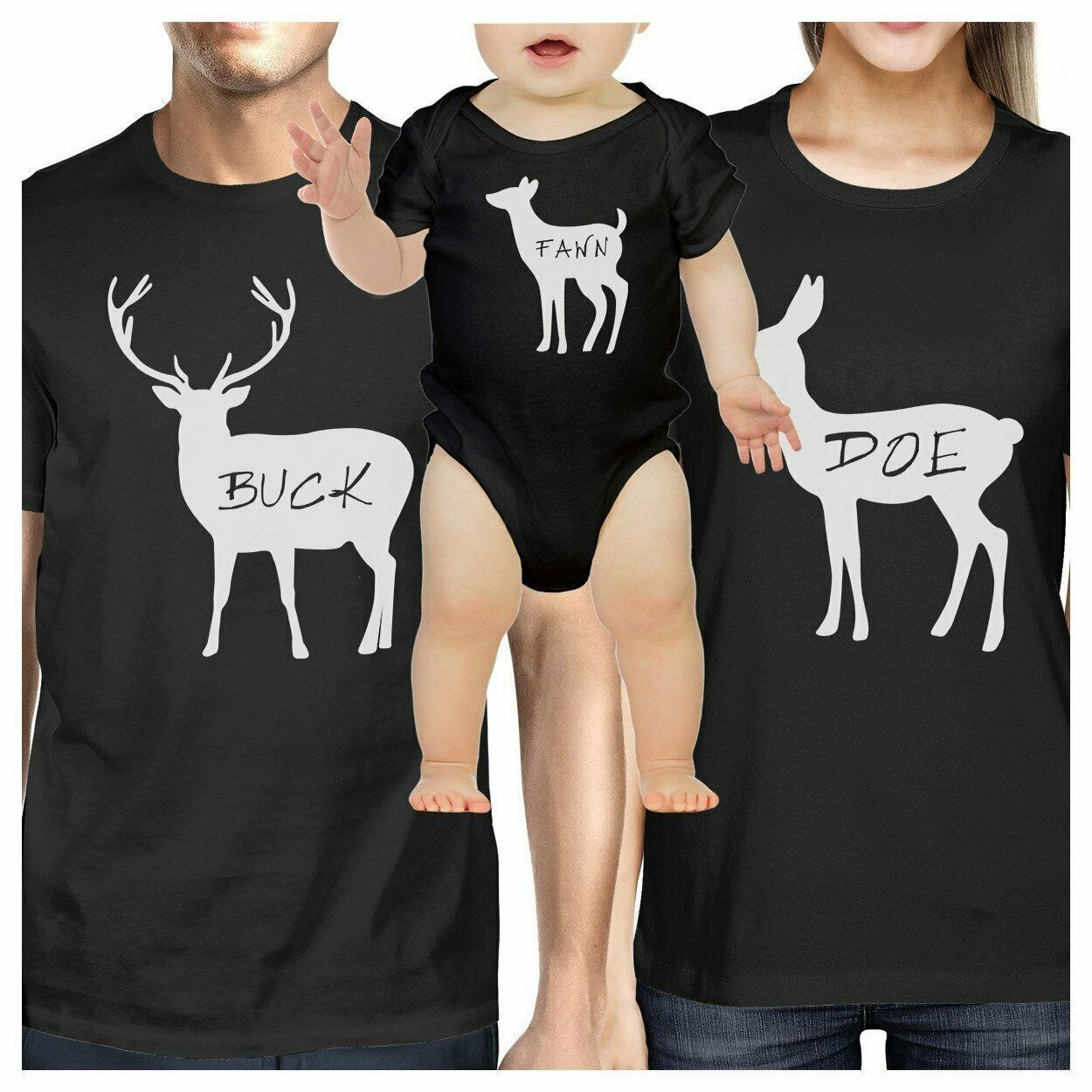 Buck Mens Black T-Shirt Unique Family Matching Shirts For Dad Gifts - $19.26