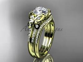 Moissanite Butterfly 14kt ring yellow gold diamond wedding ring set ADLR... - $2,595.00