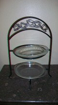 Vintage Two-tier Metal Pie Holder with Two Glass Pie Plates - $51.97