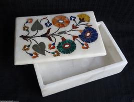 "6""x4""x2"" Marble Jewelry Trinket Box Semi Precious Floral Mosaic Home Decor Gifts - $93.08"
