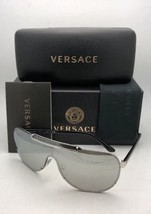 New VERSACE Sunglasses VE 2140 1000/6G Silver & Black Shield with silver... - $320.76