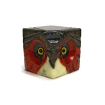 Vintage OWL HEAD Paperweight | Genuine Alabaster with Glass Eyes | ABF I... - $24.70