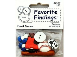Favorite Findings Fun and Games Buttons, 8 Pieces