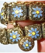 1887 Victorian 15k Mosaic bracelet Forget Me Not flowers charm fob - $2,313.25