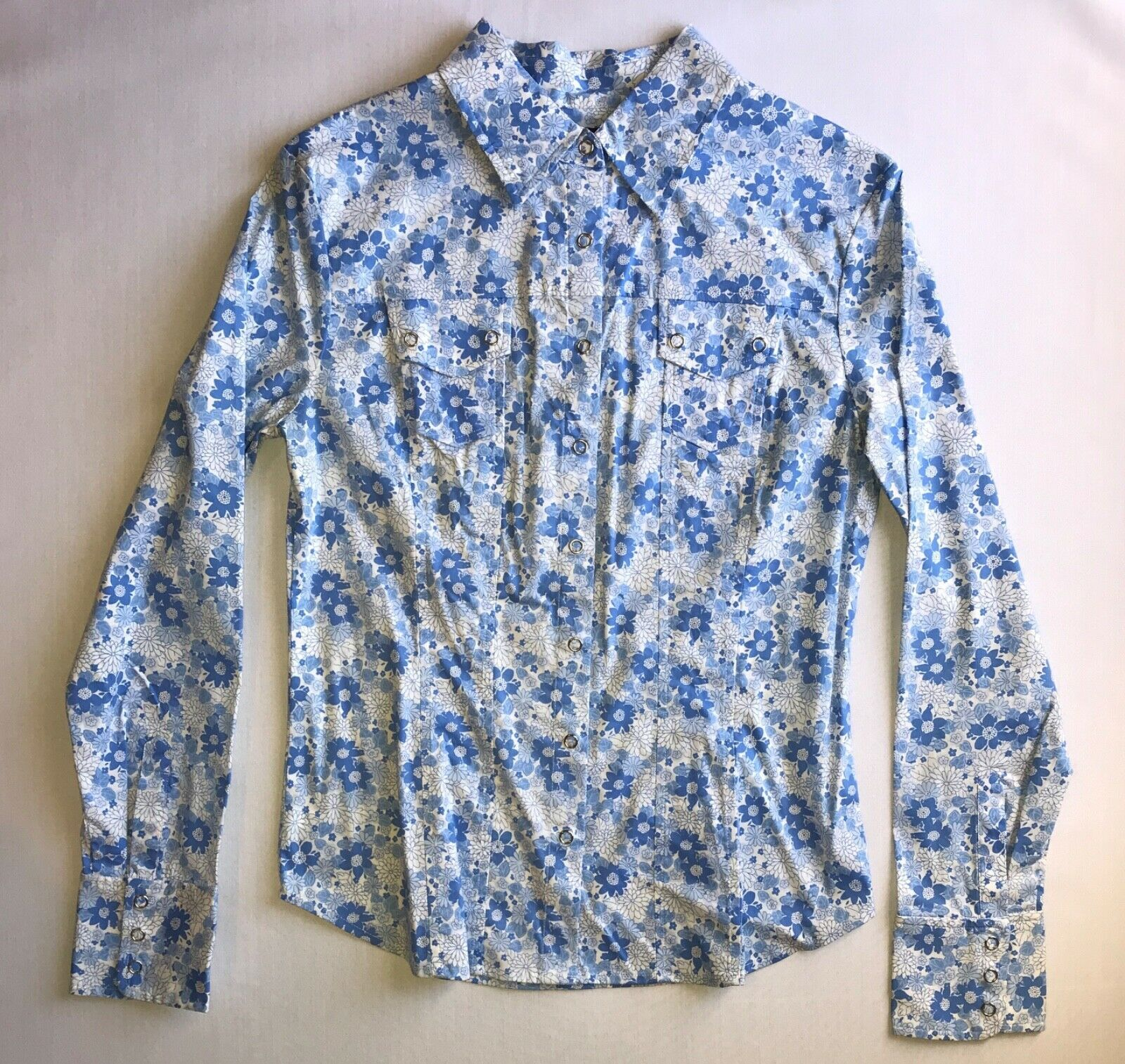 Primary image for Fitted Button Up Floral long sleeve & collared Shirt in 7/8 by Express Stretch