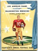 LA Rams v Washington Redskins Program 8/16/58 14th LA TIMES charity game - $105.54