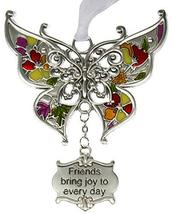 Gnz Inspirational Zinc Butterfly Ornament -Friends Bring Joy to Every Day - $8.05