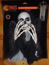 "Hanging Skeleton Reaper Halloween Prop 36"" LED Light Up Eyes Yikes in th... - $22.28"