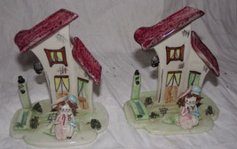 Children's Book Ends Ceramic Pottery Girl Boy spaghetti House 2013 NY Pair - $12.64
