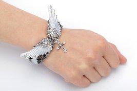 Women's Angel Wing Cross Necklace Earrings Bracelet Set image 7