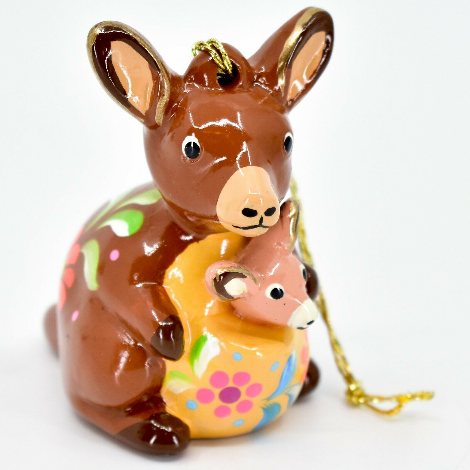 Handcrafted Painted Ceramic Kangaroo & Joey Confetti Ornament Made in Peru