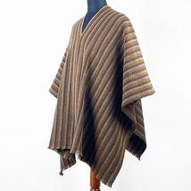 LLAMA WOOL PONCHO MENS WOMANS UNISEX SERAPE PULLOVER SWEATER JACKET BROWN - $79.15