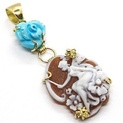 YELLOW GOLD PENDANT 18K 750, CAMEO CAMEO, FAIRY, FLOWERS, PINK TURQUOISE