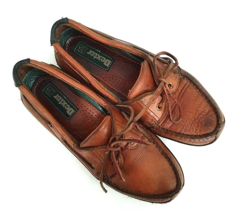 Dexter Womens Size 7.5 Loafers Brown Leather Shoe Tassel Boat Shoe