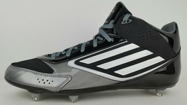 Adidas Mens Size 18 Lightning D Black White Titanium Football Cleats w/ Tag - $56.09