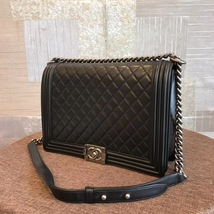 AUTHENTIC CHANEL BLACK QUILTED LAMBSKIN LARGE BOY FLAP BAG RHW image 3