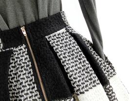 BLACK PLAID Midi Skirt Women Classy Winter Long Plaid Skirt Outfit Plus Size  image 5