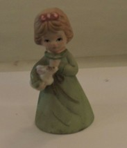 Vintage Adorabell Fine Bisque Porcelain Bell Child Holding Bunny with Tag - $14.85
