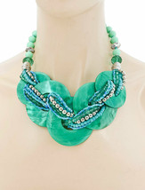 Turquoise Green & Blue Shell Chunky Casual Everyday Statement Necklace Earrings  - $23.28