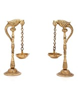 Aakrati Pair of Bird Diya Oil Lamp Stand Brass Hindu Religious Puja Arti... - $49.99