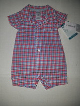 Carter's Playwear Toddler  Boys One  Piece  Set  Size 2T NWT Plaid Red W... - $13.99