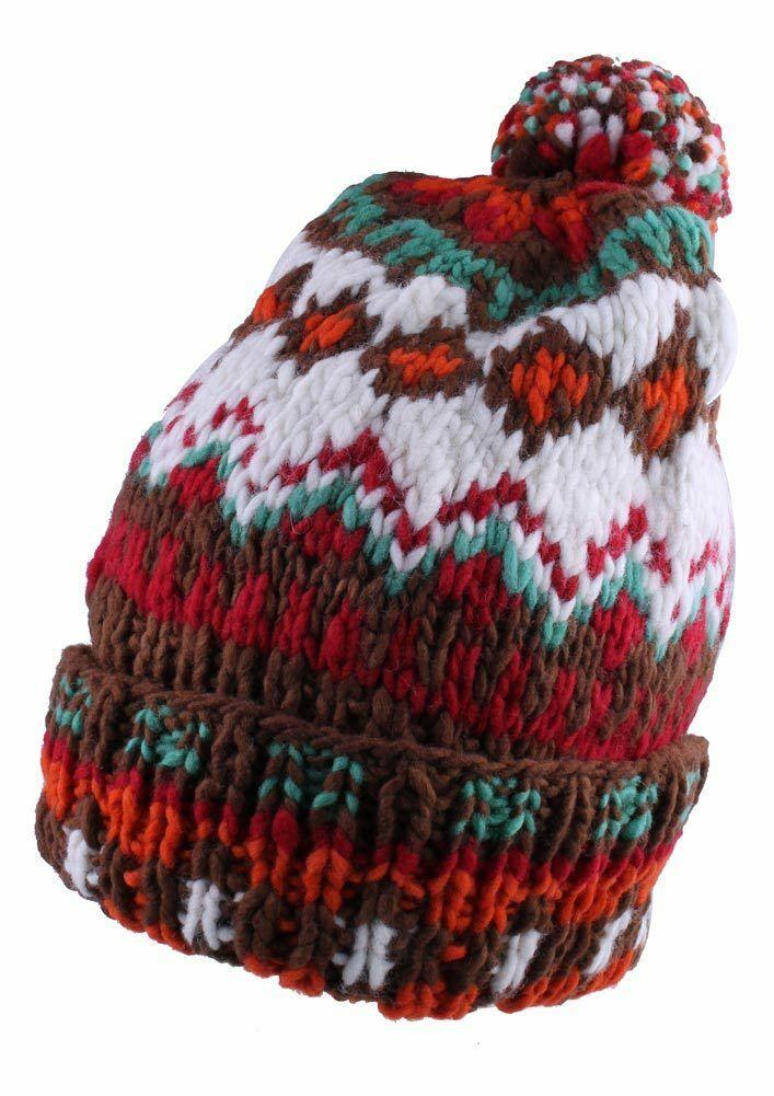 Chamula Unisex Double Cuff Brown Multi Merino Wool Fair Isle #5 Pom Beanie NEW
